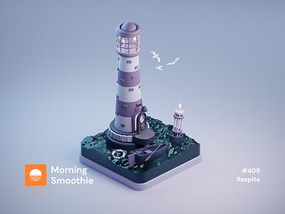 Respite lighter light shore seaside buoy ocean sea boat lighthouse logo lighthouse isometric design 3d art low poly diorama isometric illustration isometric blender blender3d 3d illustration