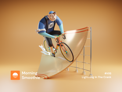 Lightning In The Crank charater design bicycles bicycle bikes cyclists cycling cyclist cyclesrender cycle bike isometric design 3d art low poly diorama isometric illustration isometric blender blender3d 3d illustration