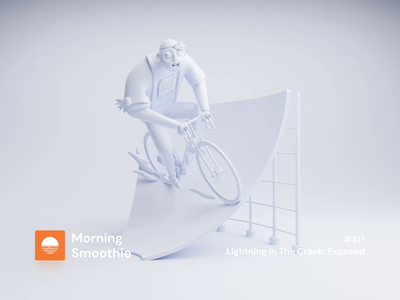Lightning In The Crank: Exposed bike clay mockup clay render clayrender character animation character design character animate animated animation isometric design 3d art low poly diorama isometric illustration isometric blender blender3d 3d illustration