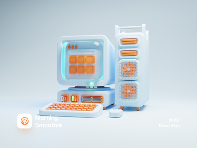 Retro'd Up retro font retrowave retro computer art contrast minimal computers machine pc computer isometric design 3d art low poly diorama isometric illustration isometric blender blender3d 3d illustration