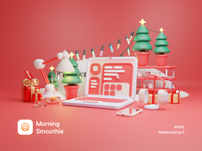 Redecorating II holidays holiday gift office workspace laptop christmas party christmas tree christmas card christmas isometric design 3d art low poly diorama isometric illustration isometric blender blender3d 3d illustration