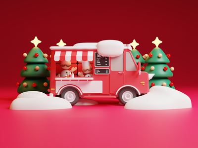 Bakery On Wheels christmas party christmas tree christmas card christmas holiday fast food logo fast food menu fast food foodtruck isometric design 3d art low poly diorama isometric illustration isometric blender blender3d 3d illustration