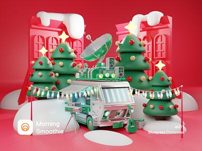 Bluegrass Christmas music bus december snow christmas tree christmas card christmas holidays bluegrass billystrings isometric design 3d art low poly diorama isometric illustration isometric blender blender3d 3d illustration