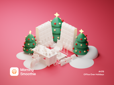Office Over Holidays workspace offices christmas party christmas card christmas flyer christmas tree christmas office design office space office isometric design 3d art low poly diorama isometric illustration 3d isometric blender blender3d illustration