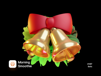 Bells holidayseason holidays bells bell animation animated christmas card christmas isometric design 3d art low poly diorama isometric illustration isometric blender blender3d 3d illustration
