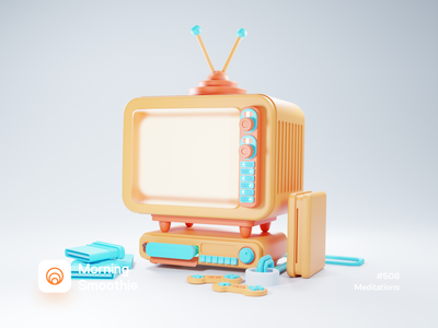 Meditations console gaming game television tv app tv set concept iconography icons icon isometric design 3d art low poly diorama isometric illustration isometric blender blender3d 3d illustration