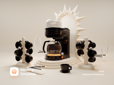 Worship Of Machines coffee bean worship altar coffee shop coffeeshop coffee cup coffee machine coffee isometric design 3d art low poly diorama isometric illustration isometric blender blender3d 3d illustration