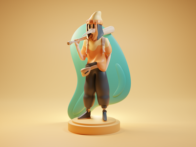 Haru from Horia japanese art japanese culture japanese style oriental orient japanese characters characterdesign character design character isometric design 3d art low poly diorama isometric illustration isometric blender blender3d 3d illustration