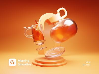 Tea Time isometric design 3d art low poly diorama isometric illustration isometric blender blender3d 3d illustration