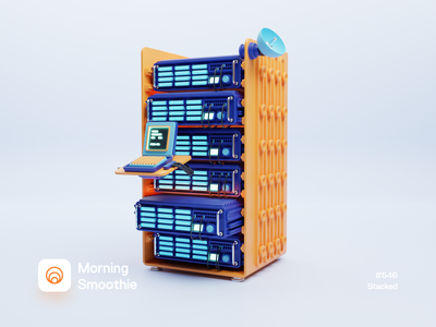 Stacked servers hardware retro computer technical techie server 3d illustrator 3d artwork 3d artist isometric design 3d art low poly diorama isometric illustration isometric blender blender3d 3d illustration
