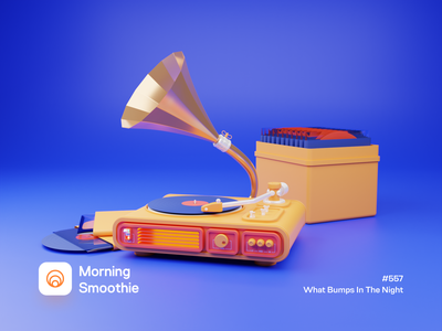 What Bumps In The Night 3d illustration 3d artwork 3d artist music record player record vinyl cover vinyl record vinyl isometric design low poly 3d art diorama isometric illustration isometric 3d blender blender3d illustration