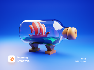 Raiding Party viking bottled shipping ship sailor sea message app bottle messages message isometric design low poly 3d art diorama isometric illustration isometric blender blender3d 3d illustration