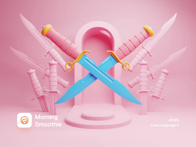 Love Language II pastel contrast color palette candy cane color candy cut blade knives knife isometric design low poly 3d art diorama isometric illustration isometric blender blender3d 3d illustration