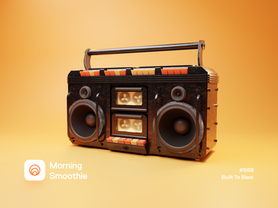 Built To Blast retro tape recorder tape player tape music art music player boombox 3d illustration 3d artist 3d artwork isometric design low poly 3d art diorama isometric illustration isometric blender blender3d 3d illustration