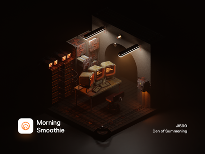 Den of Summoning horror art rusted rustic rusty rust grungy retro pc space low poly 3d art diorama isometric illustration blender blender3d 3d illustration isometric retro steam punk steampunk
