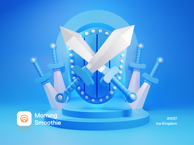 Ice Kingdom blue cold ice videogame video game art game assets game asset video game shield sword isometric design low poly 3d art diorama isometric illustration isometric blender blender3d 3d illustration