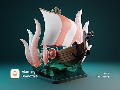 The Undoing shipping wooden ship shield anchor tentacles tentacle isometric illustration isometric blender blender3d 3d illustration sea ocean ships viking cthulu cthulhu kraken ship