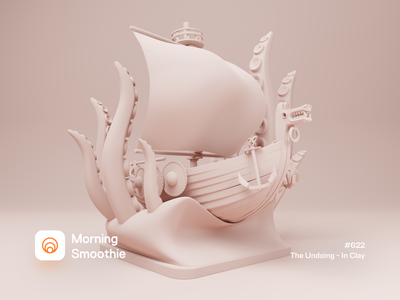 The Undoing - In Clay ancient old viking cthulhu kraken clay render clayrender clay tentacle ship isometric design low poly 3d art diorama isometric illustration isometric blender blender3d 3d illustration