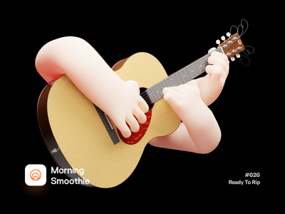 Ready To Rip guitars 3d hand musician acoustic guitar acoustic guitarist music hand guitar isometric design low poly 3d art diorama isometric illustration isometric blender blender3d 3d illustration