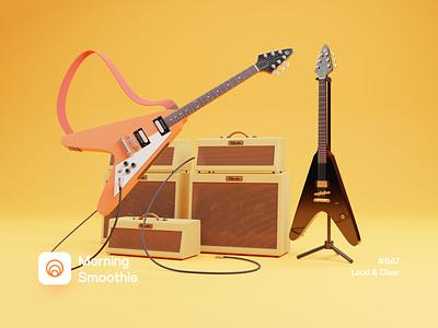 Loud & Clear 3d illustrator 3d artwork 3d art musician music guitars guitar isometric illustration isometric blender blender3d 3d illustration