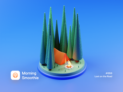 Lost on the Road forest fire campfire 3d artwork 3d illustration nature woods tent camping design diorama isometric illustration isometric blender 3d blender3d illustration