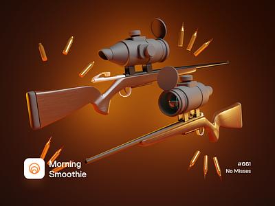 No Misses round bullet 3d illustration 3d artwork hunter hunt optic scope gun rifle design diorama isometric illustration isometric blender blender3d 3d illustration