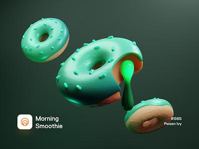 Poison Ivy glaze donuts candy sweets sweet 3d illustration 3d artwork donut design diorama isometric illustration isometric 3d blender blender3d illustration