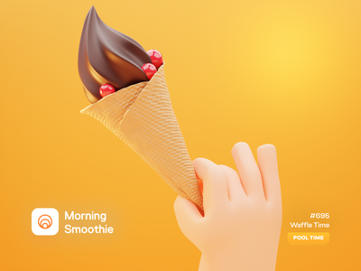 Waffle Time cold food candy sweets sweet ice cream summer diorama isometric illustration isometric blender blender3d 3d illustration