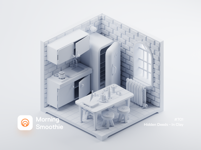 Hidden Deeds - In Clay minimalistic white minimal cute kitchen clayrender clay diorama isometric illustration isometric blender blender3d 3d illustration