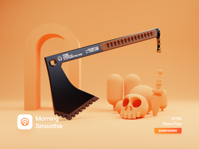 Peace Pipe camping nature forest construction tools tool jungle military orange minimal axe diorama isometric illustration isometric blender blender3d 3d illustration