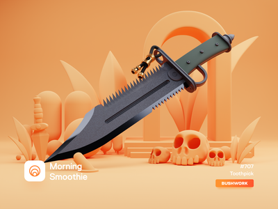 Toothpick bowie campfire hiking blade dagger knife nature camping design diorama isometric illustration isometric blender blender3d 3d illustration