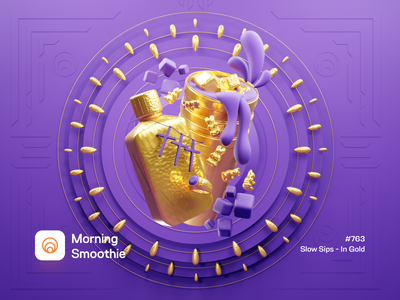 Slow Sips - In Gold medtech medicine medical cup ring chain duotone gold drink 3d artist 3d art isometric illustration isometric blender blender3d 3d illustration