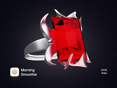 Ruby expensive jewelry treasure jewel ruby 3d animation animated animation diamond ring design diorama isometric illustration isometric 3d blender blender3d illustration