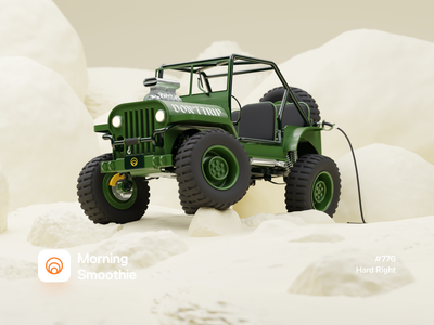 Hard Right auto 3d artist 3d art nature offroading cabrio truck suv 4x4 offroad automotive car toy jeep isometric illustration isometric blender 3d blender3d illustration