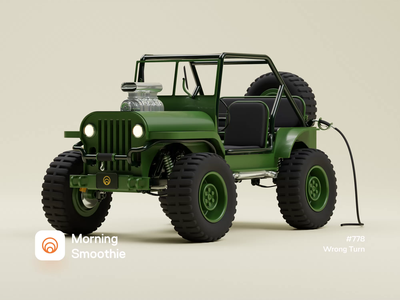 Wrong Turn 4x4 spin toy car toy offroad jeep suv truck car 3d animation animated animation design diorama isometric illustration isometric blender 3d blender3d illustration