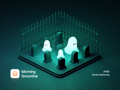 Family Gathering ghosts horror scary night minimal glow in the dark glow spooky halloween graveyard grave ghost isometric illustration isometric blender blender3d 3d illustration