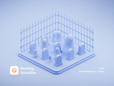 Family Gathering - In Clay claymation clayrender clay halloween horror scary spooky ghosts graveyard grave ghost diorama isometric illustration isometric blender blender3d 3d illustration