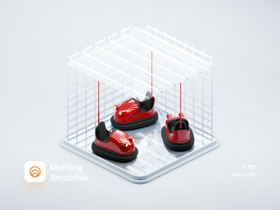 Bump Up attraction clay rendering clayrender clay isom toy car bumper car carnival diorama isometric illustration isometric blender blender3d 3d illustration