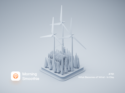 What Becomes of Wind - In Clay clayrender clay green energy green sustainability wind power resource electricity power nature windmill wind diorama isometric illustration isometric blender blender3d 3d illustration