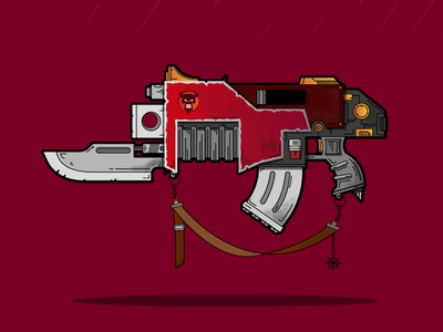 Fanart flash from WH40k! detailed chaos bolter gun color vector warhammer illustration