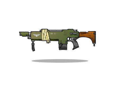 Another 40k flash! detailed lasgun illustration 2d vector