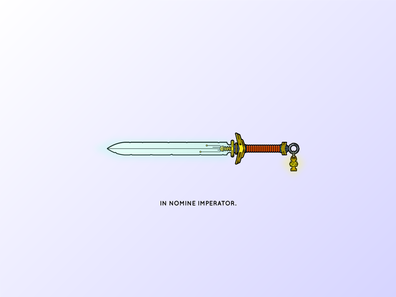 In the name of the Emperor... object sourced lighting lighting inquisition warhammer sword line detailed minimal clean 2d illustration vector