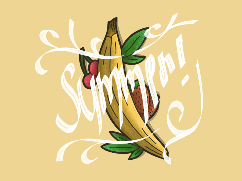 Summer! procreate lettering typography fruits handdrawn illustration