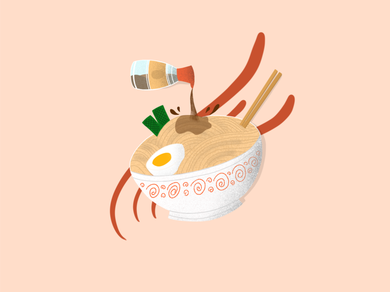 Delicious! ramen pink food procreate handdrawn illustration
