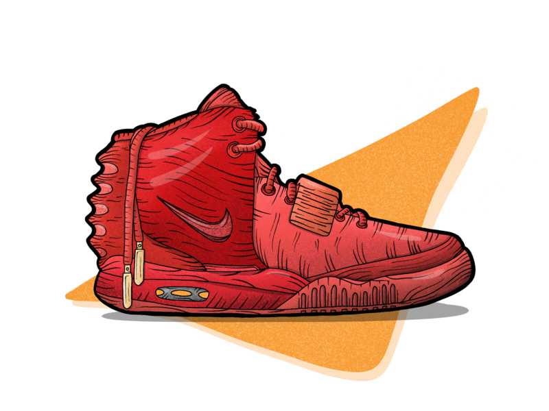 The Red Octobers nike nikes redoctobers yeezys shoes sneakers procreate handdrawn illustration