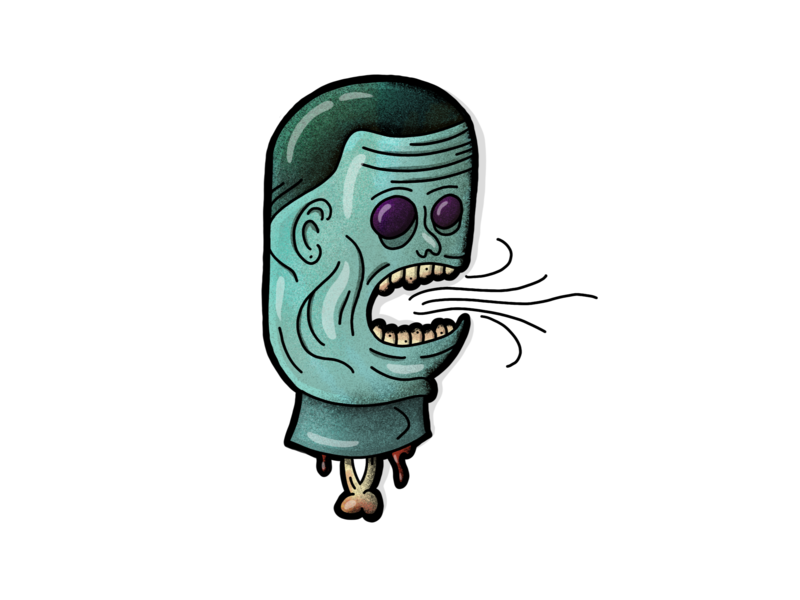 Decapitation character illustrated decapitation head zombie pen apple procreate handdrawn illustration