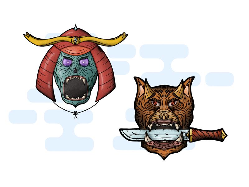 Samurai and Hound character design person animal dog undead logo tattoo art tattoo character detailed procreate handdrawn illustration