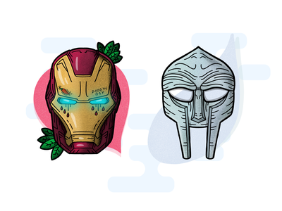 Death Mask Combo mf apple tattoo art tattoo character mask rapper mfdoom avengers ironman procreate handdrawn illustration