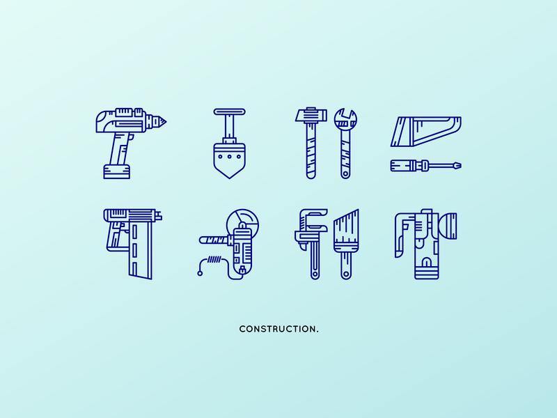 Iconpack Powertools linework line art line shovel saw hammer construction icon pack icon design iconset icons pack icons icon