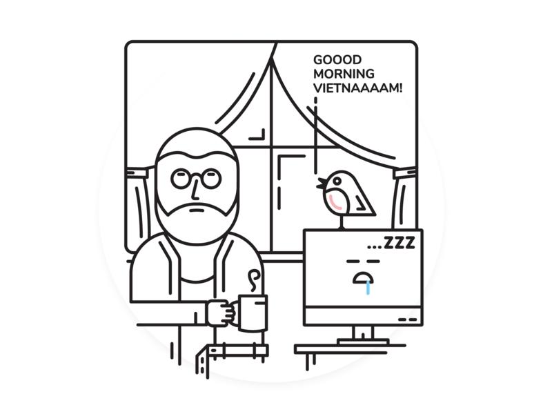 Good Morning! designer computer comic art comic bird morning character minimal blackandwhite vector illustration